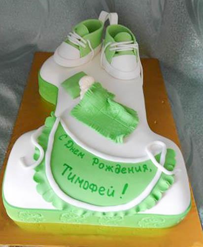 Торт кеды на единичке светло-зеленой