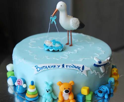 Торт аист с малышом