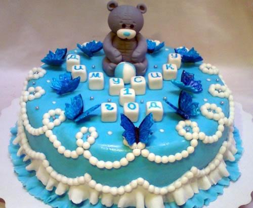 Торт мишка с кубиками и бабочками