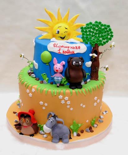 Торт с героями Винни-пуха