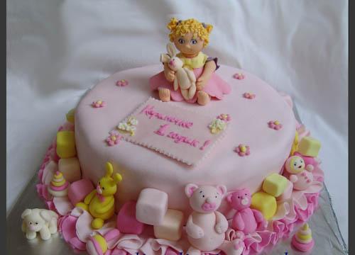 Торт девочка с зайчиком